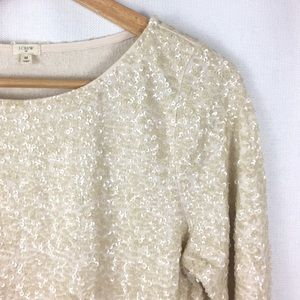 J Crew Factory Blouse Sequin 3/4 Sleeve